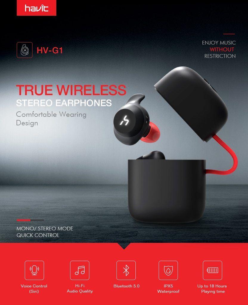 7538a0f00e5 HAVIT TWS Bluetooth Earphone True Wireless Sport Earphone Waterproof Stereo  Earbuds