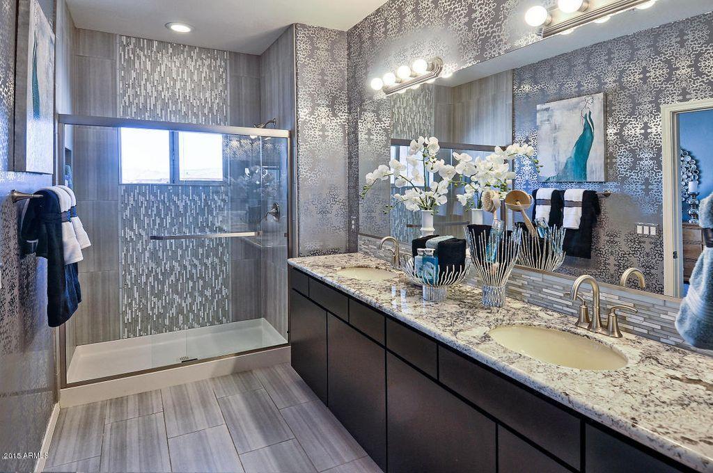 Traditional Master Bathroom With Blizzard Granite Countertop