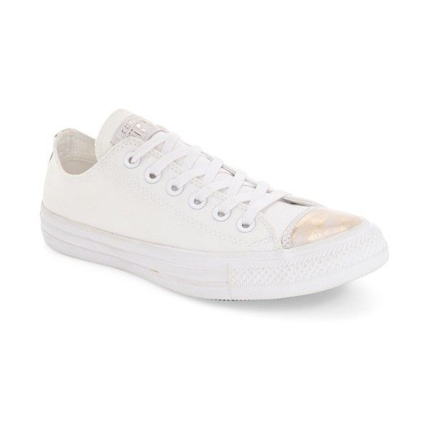 Converse Chuck Taylor Trainers In White With Metallic Toe Cap