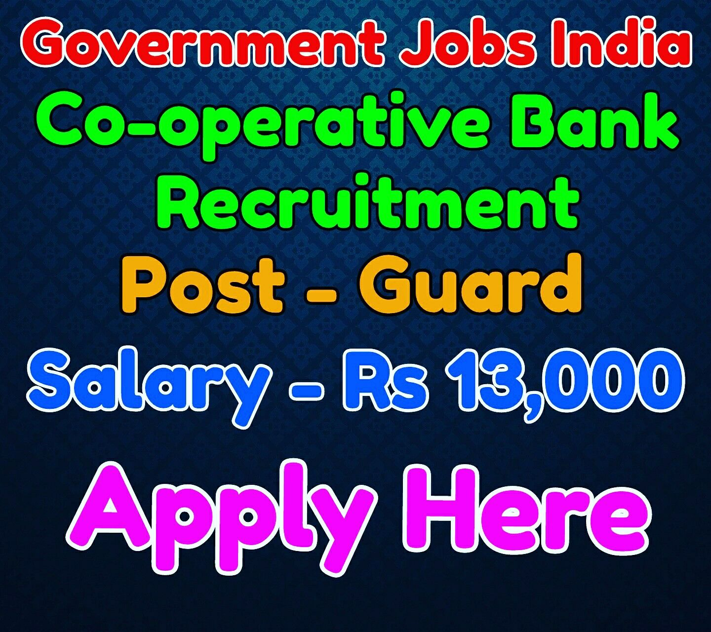 Co operative bank recruitment notification 2016 name of post guard salary rs 13 000