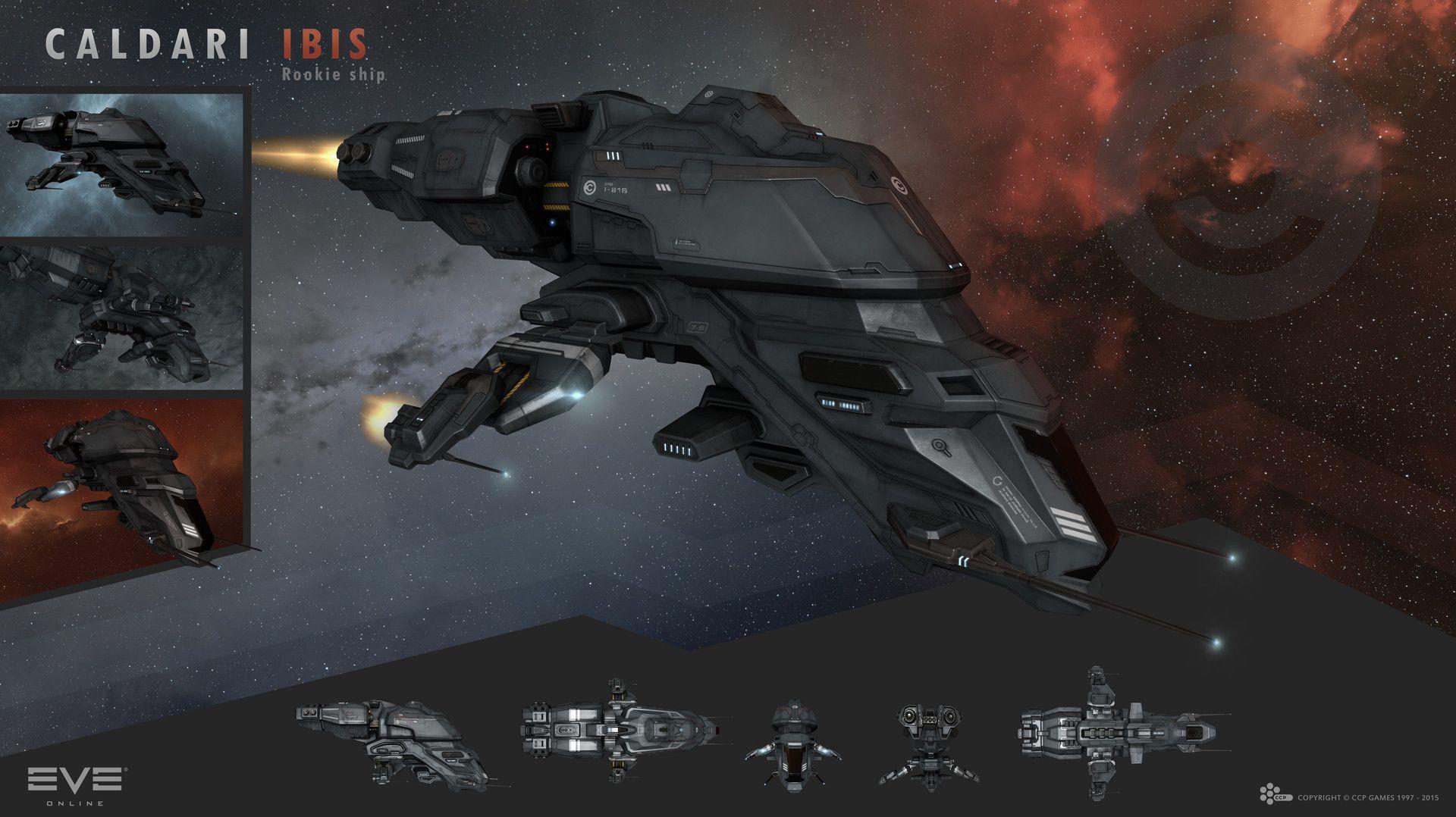 The new rookie ship Caldari Ibis that I created for EVE
