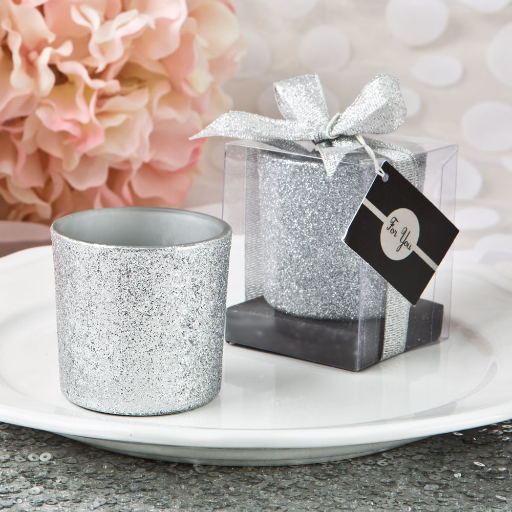 Bling Collection Silver Glitter Candle Votive | Wedding accessories ...