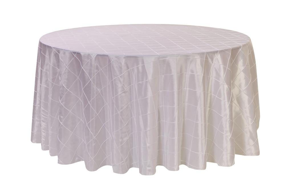 Magnificent 120 Inch Pintuck Taffeta Round Tablecloth White Table Set Beutiful Home Inspiration Ommitmahrainfo