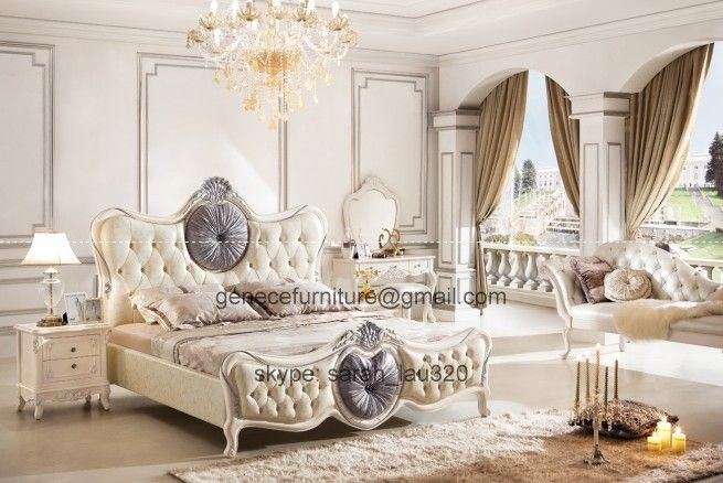 Neoclassical Crown Prince Bed Frame European Wooden Bedroom Sets ...