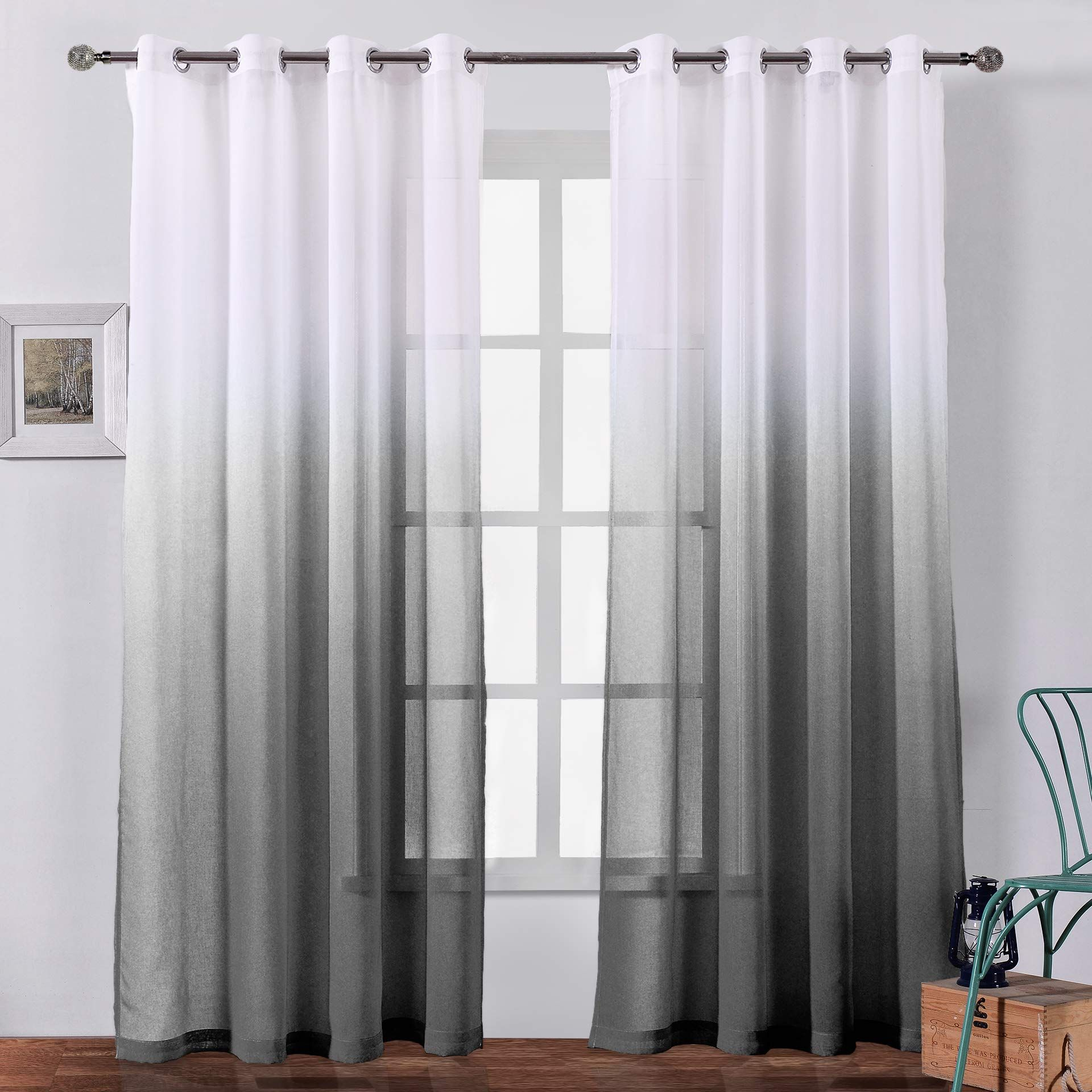 Bermino Faux Linen Ombre Sheer Curtains Voile Grommet Semi Sheer