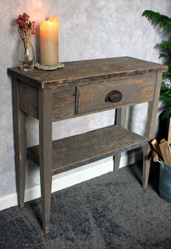 Small Entry Table Gray Wood Sofa Table Gray Reclaimed Wood Console Table Small Hallway Table 30 W X 12 D X 30t Natural Finish Reclaimed Wood Console Table Small Entry Tables Wood Sofa Table