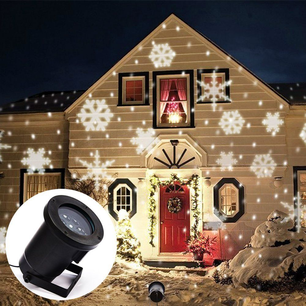 Led flocon de neige effet lumi res de no l en plein air for Deco lumiere exterieur noel