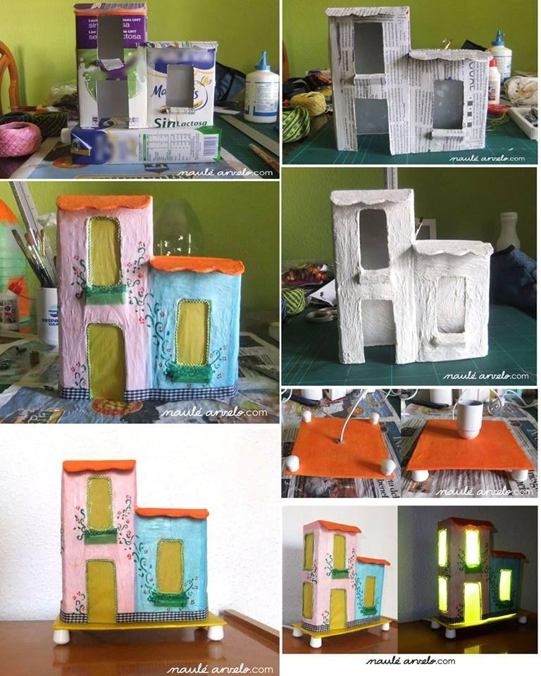 con cajas de leche  DIY  Caja de leche Cartones de leche y Casas de cartn