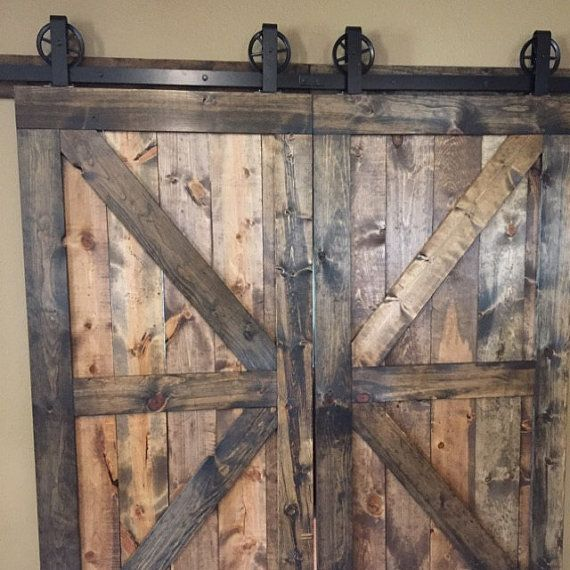 Double Door Vintage Top Mount Barn Door Hardware On Sale 100 Etsy Barn Door Barn Door Hardware Double Doors