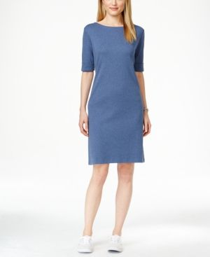 77a9256f06d0 Karen Scott Petite Cotton Boat-Neck Shift Dress, Created for Macy's - Blue  P/XS