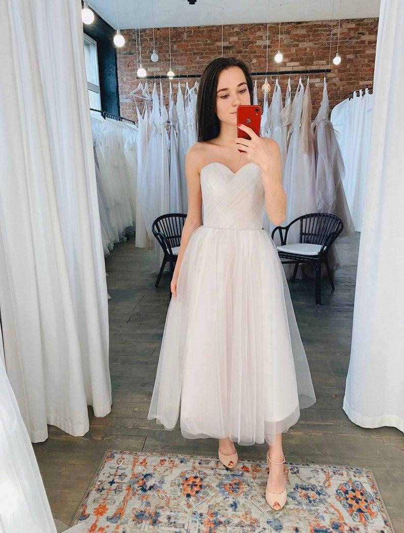 Tulle Midi Wedding Dress Color Short Wedding Dress Made To Etsy Short Wedding Dress Midi Wedding Dress Dresses [ 1048 x 794 Pixel ]
