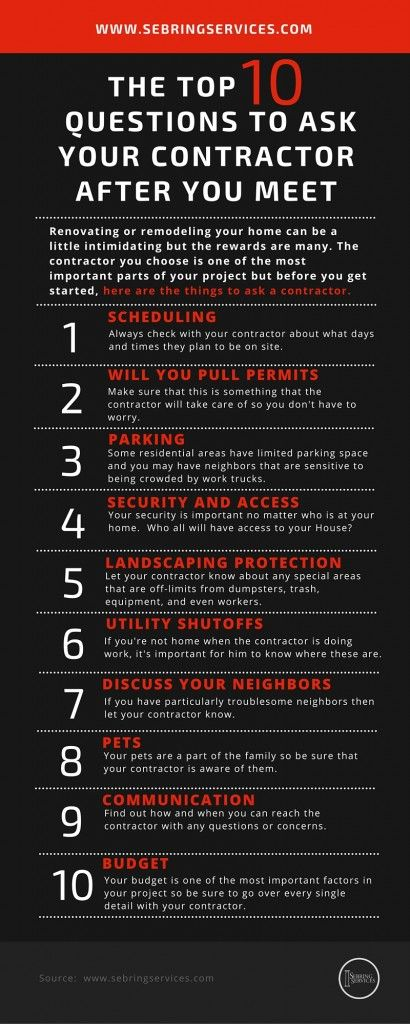 What To Ask Your Contractor: The Top 10 Questions To Ask Your Contractor After You Meet