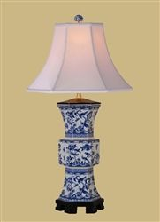 Oriental Blue & White Bird Rose Canton Porcelain Lamp EE-LPBGC1014AJ