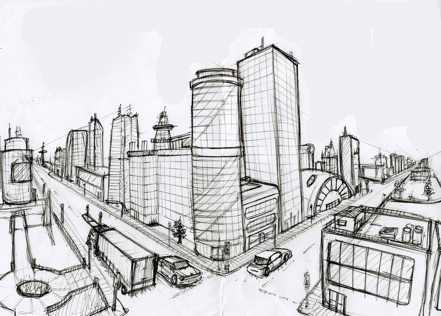 Dessin Immeuble En Perspective Two Point Perspective Cityscape Easy 2 Point P Perspective