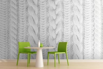 White Knit Texture Wall Mural