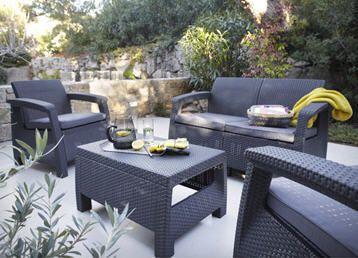 Salon de jardin en résine Corfu KETER, gris anthraciteprix promo ...