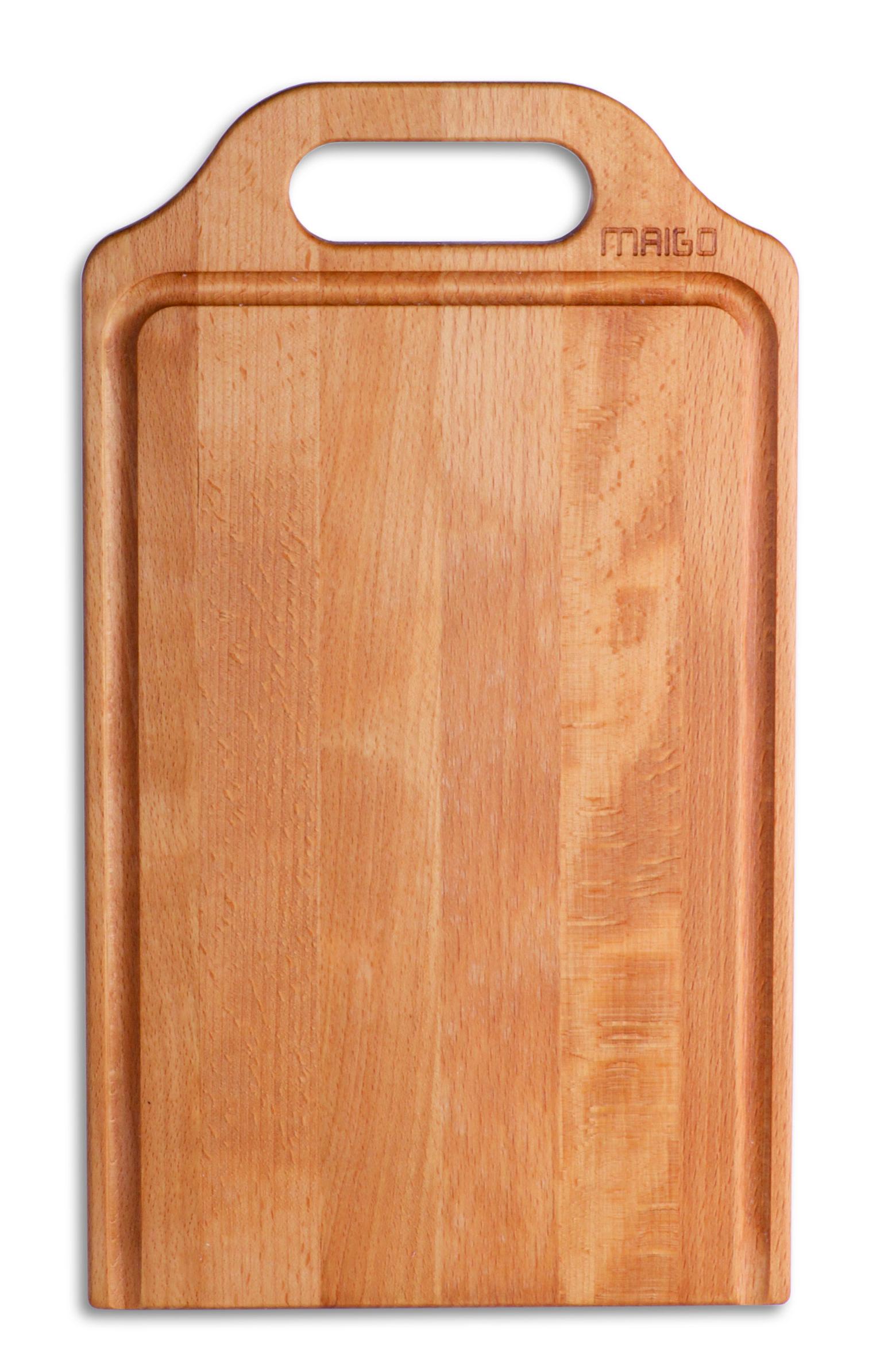 """MAIGO-Schneidebrett """"Gerd"""" aus Holz mit der typischen patenten Saftrille bzw. Schnittgutbarriere."""