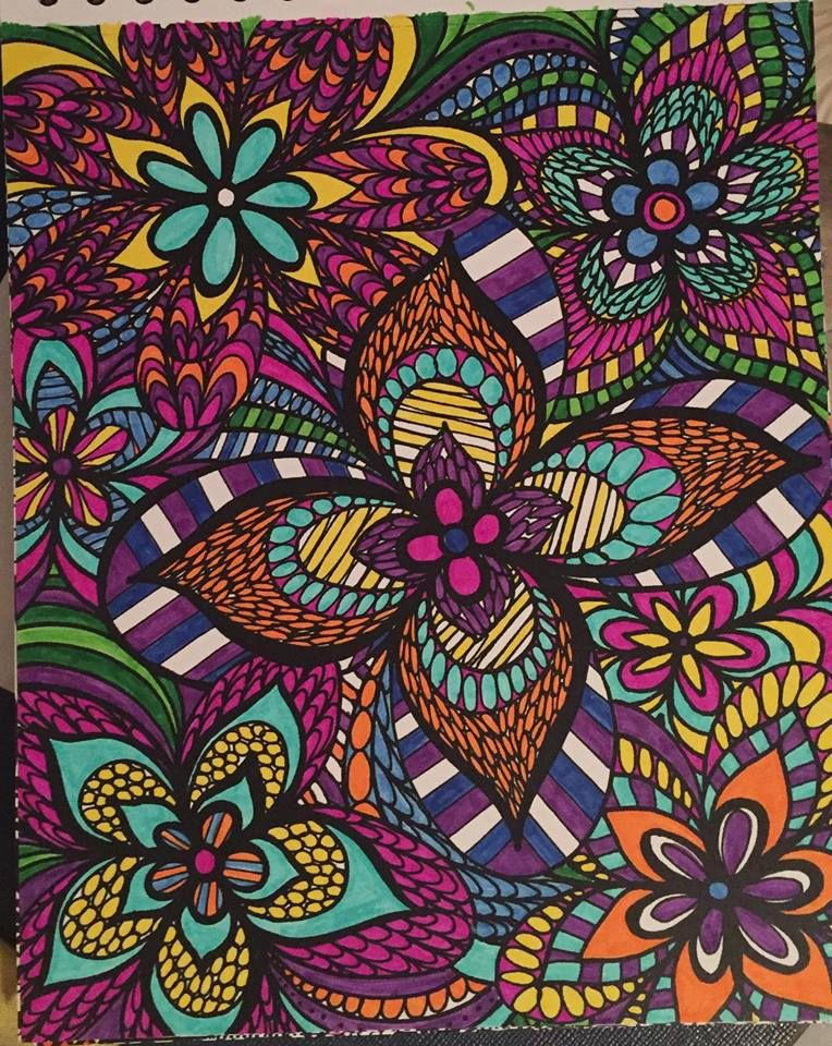 ColorIt Colorful Flowers Volume 1 Free Coloring Page Colorist Melissa Woolsey Adultcoloring Coloringforadults Doodle