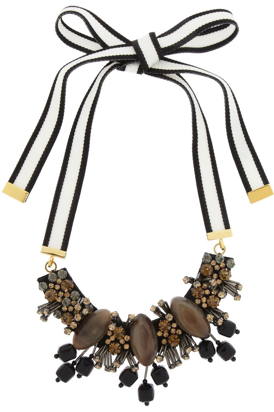 Marni|Crystal and horn necklace