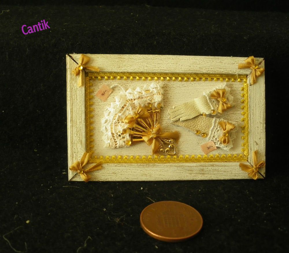 1:12 Scale Hand-Made Miniature GLOVES & FAN SHOP WALL DISPLAY PLAQUE shabby chic