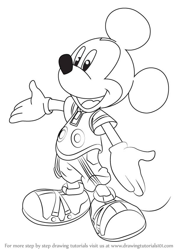 Learn How To Draw King Mickey From Kingdom Hearts Kingdom Hearts Step By Step Drawing Tutorials Kingdom Hearts Drawings Heart Coloring Pages