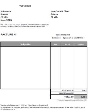 modele facture autoentrepreneur negocio pinterest modele facture entreprise et astuces. Black Bedroom Furniture Sets. Home Design Ideas