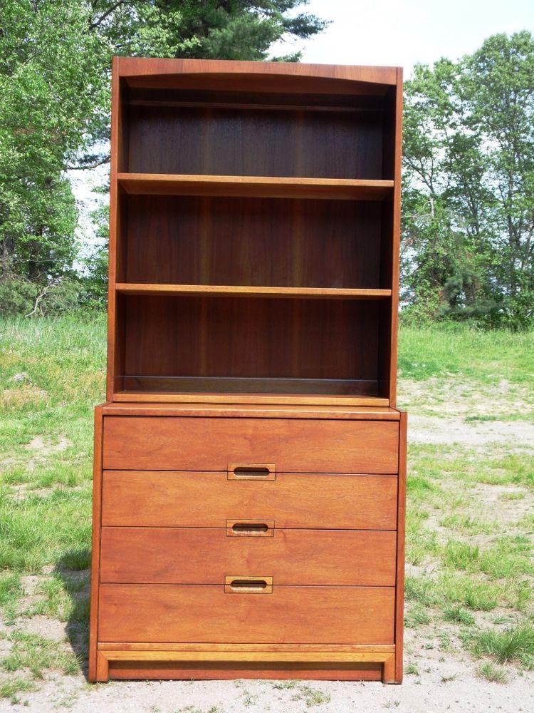 Vintage Mid Century Modern Mini Credenza Cabinet Hutch Bookcase United Furniture…