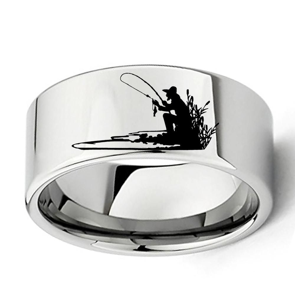 Fisherman Silhouette Ring For Fishing Lovers 11mm Flat Mens Tungsten Carbide Wedding Band Size 7 To