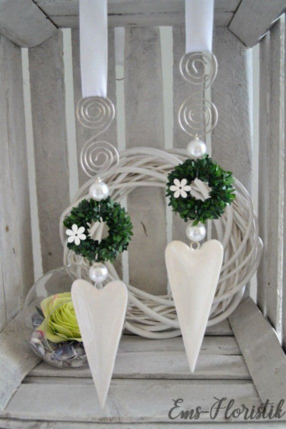 Window decoration heart white shiny, elongated shape with lettering, beads 15 cm