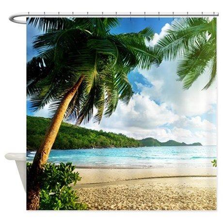 tropical beach shower curtain by
