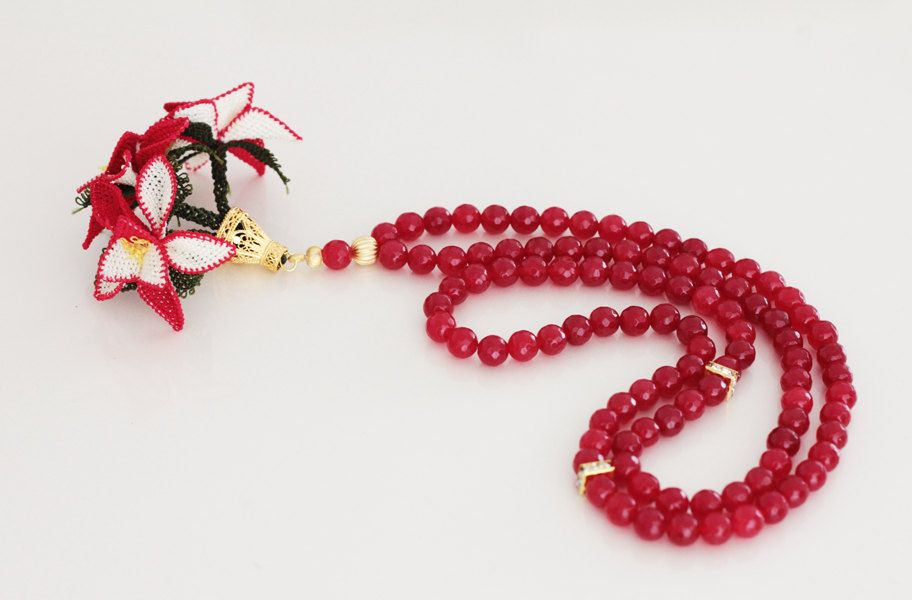 Red jade beads Tasbih, 99 count, Gold plated connectors, Oya lace needle work flowers, Tesbih, Misbaha, Worry beads, Prayer beads by Vanilleecom on Etsy