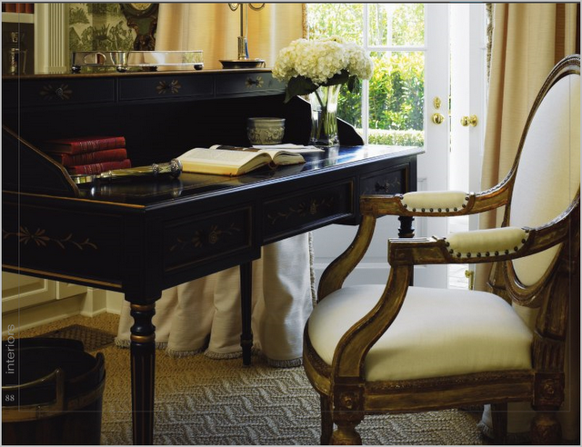 gilded black writing desk... luv it