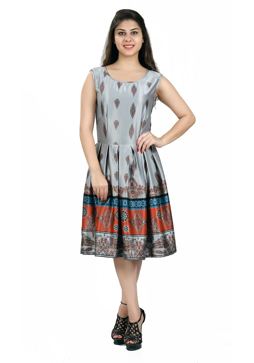 30a99efd6b1f Shop Online for Lady Stark Gathered Midi Knee Length Grey Satin Dress in  India at Voonik.com