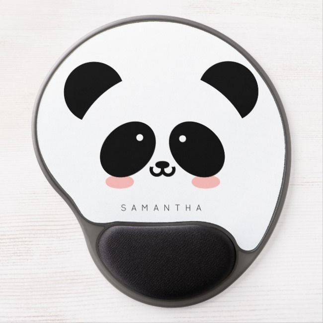 Cute Kawaii Panda Add Your Name Gel Mouse Pad Zazzle