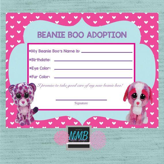 Beanie Boo Adoption Certificate 8 1/2 x 11 & 5 x7 | Syd's ...