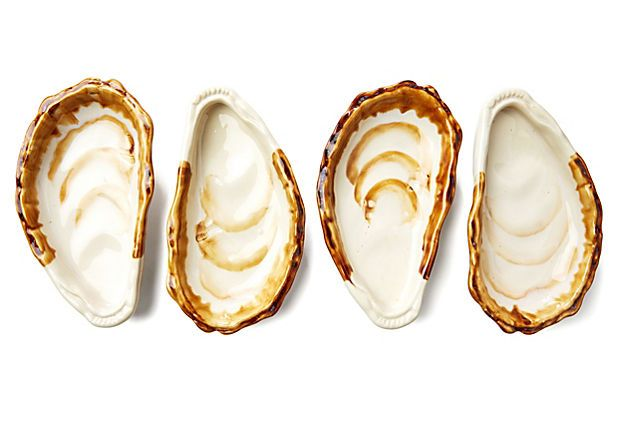 S/4 Beachcomber Oyster Dishes | A Tropical Oasis | One Kings Lane