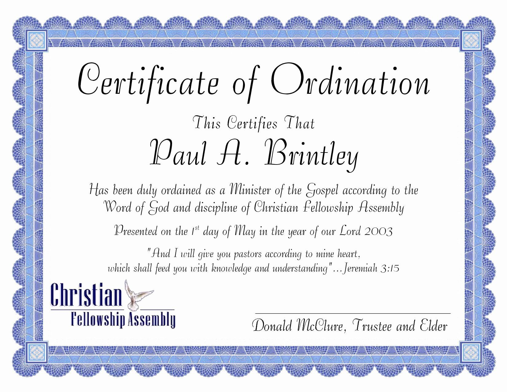 Certificate Of License For Minister Template Luxury Pastoral Ordination Certificate By Patricia Cl Certificate Templates Birth Certificate Template Certificate Certificate of license for minister template