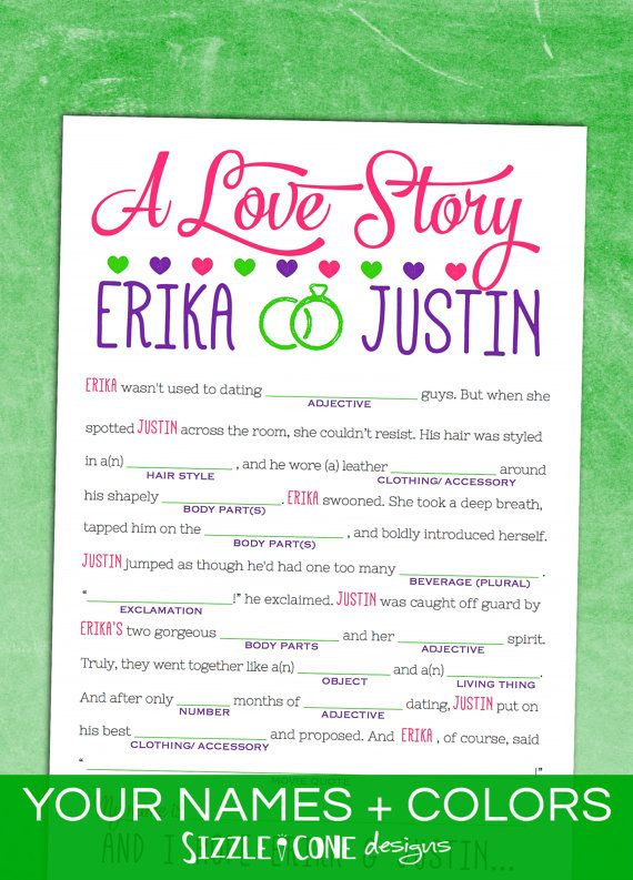 2c39c70ea7f Bridal Shower Game Printable  Love Story Madlib  - Bachelorette Party Game    Engagement Party - Personalized