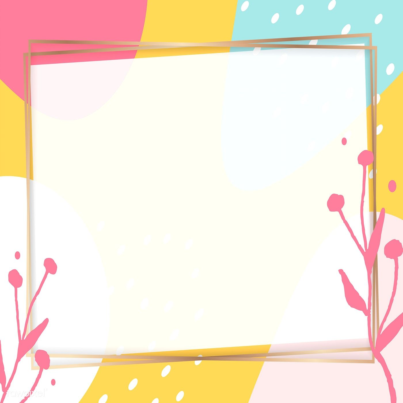 Download Premium Vector Of Square Golden Frame On A Colorful Memphis Flower Background Wallpaper Vector Background Pattern Background Patterns