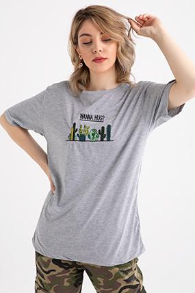 simit yaka kaktus nakisli t shirt kadin giyim uzun elbi se triko
