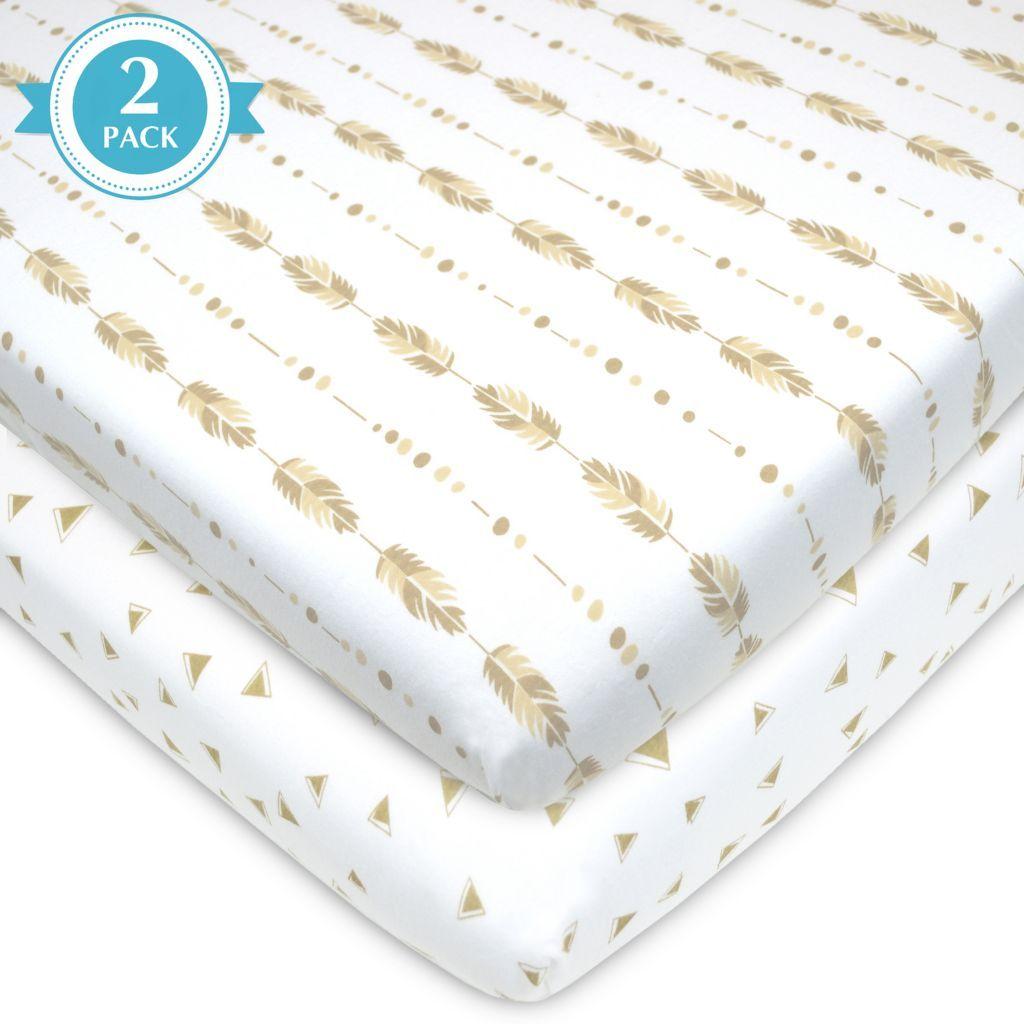 tl care 2 pk patterned jersey knit portable mini crib sheet calli