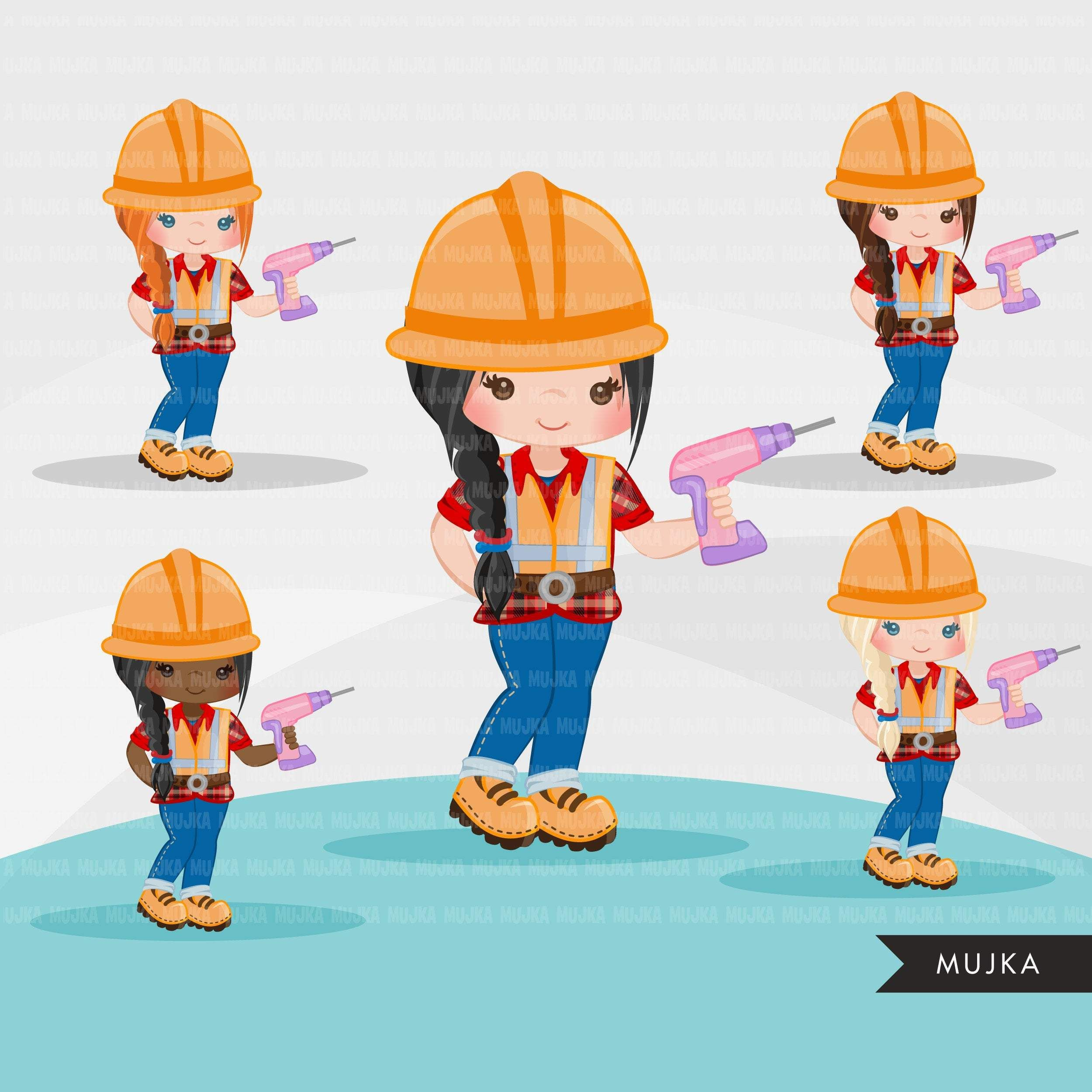 Construction Clipart Little Girl Contractor Hard Hat Dump Truck Crane Excavator Bulldozer Vehicle Tools Drill Safety Jacket Digital Embroidery Clip Art Digital Stamps