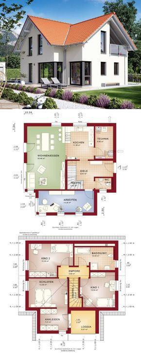 Klassisches einfamilienhaus mit satteldach erker und for Klassisches haus bauen