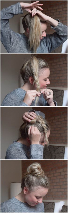 Photo of BRUN: half braid, half bun – half bun, half braided – braids.life