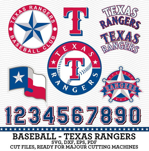 texas rangers baseball logos amp numbers svg by