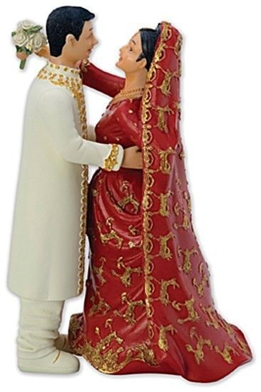 Traditional Asian Indian Bride And Groom Wedding Cake Toppers Pair Of 2 Figures