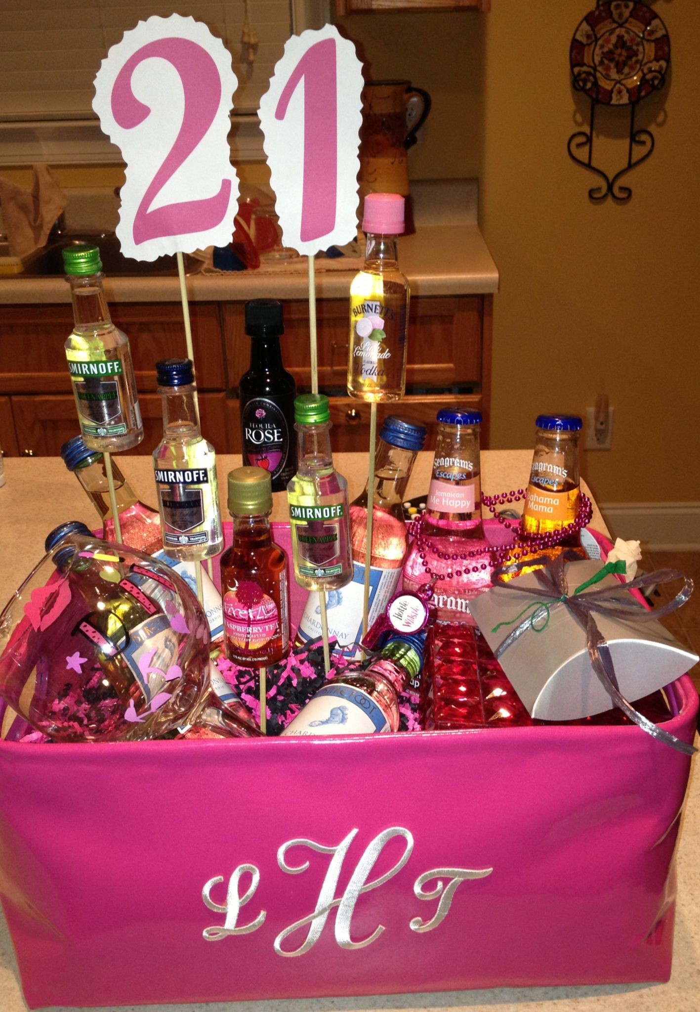 21st birthday basket full of goodies that i made for my