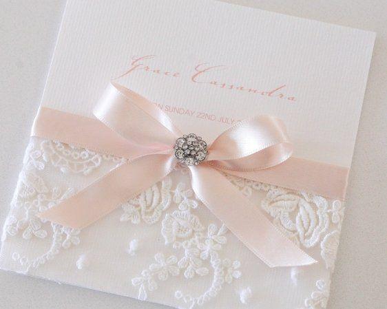 Blush Vintage Antique Lace Diamante Button Invitation