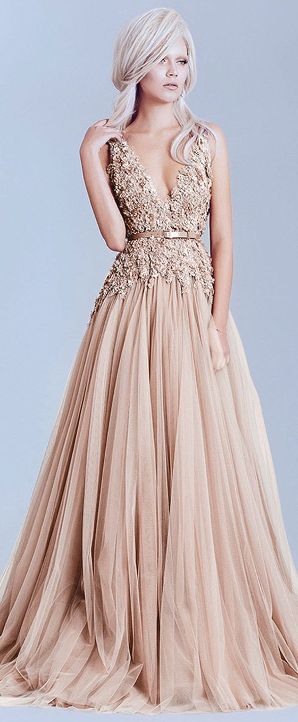 Charming Tulle & Lace V-Neck A-Line Evening Dresses With Lace ...