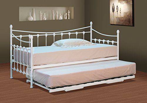 Classic Stunning White Metal Day Bed with Trundle and Mattresses